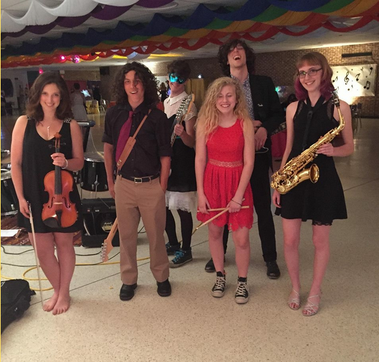 During the 2015 Music Formal at PFMS, Here All Week performed a short set to kick of the dance. Here they are post performance. From left to right: Ally Ellis, Matt Wherley, Aaron Gayan, Charlotte Hatch, Joe Caldwell, Anna Hirsch. Photo credits: Katie Taylor