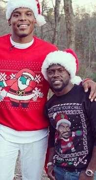 Quarterback Cam Newton and actor Kevin Hart sport this holiday fashion trend.