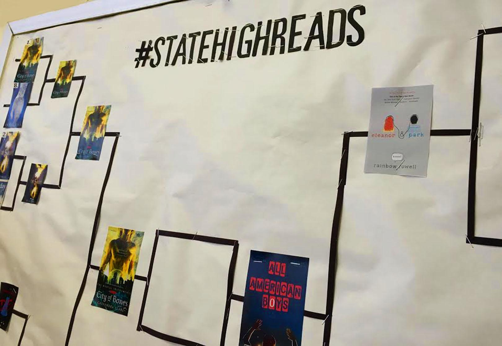 March Book Madness Bracket in the South Library.