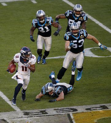 The Denver Broncos' Jordan Norwood (11) makes a record-setting 61-yard punt return against the Carolina Panthers in the second quarter in Super Bowl 50 at Levi's Stadium in Santa Clara, Calif., on Sunday, Feb. 7, 2016. The Broncos won, 24-10. (Jim Gensheimer/Bay Area News Group/TNS)