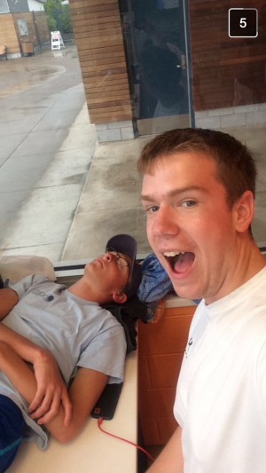 Junior, Ben Gingher, relaxing on a rainy day at Welch last summer.
