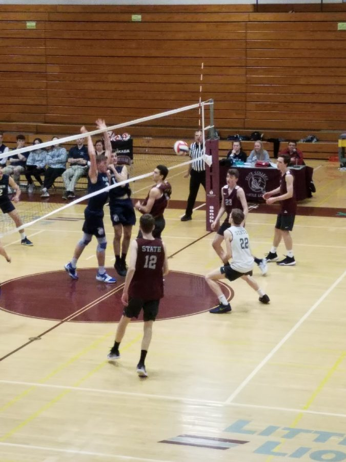 "David Paroda, a senior, Andy Vanden Heuvell, a junior, John Bristol, a junior, and Quinn Williams, a junior, play against Chambersburg. The boys beat Chambersburg in a dominant three sets to zero. Williams said ""we are a well rounded team""."