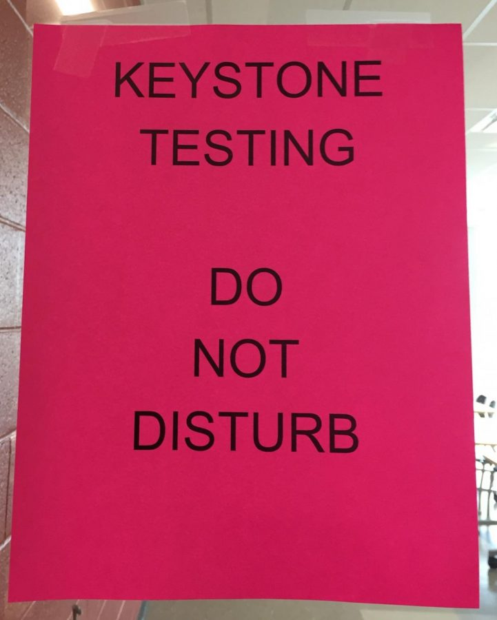 Signs like the one above are posted outside classrooms where the Keystone testing occurs. There are many restrictions and rules surrounding the exams, and teachers have little control over it because it is a state assessment.