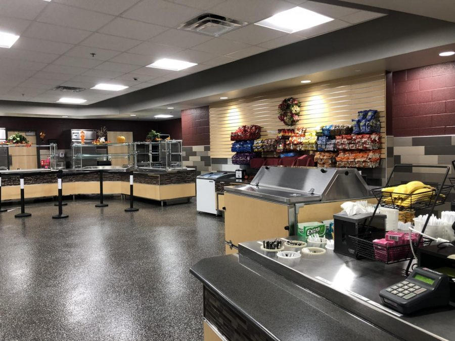 The food court is being used daily for breakfast and lunch. It offers a variety of healthy options. The food-court styled cafeteria has greatly improved in comparison to the old cafeterias.