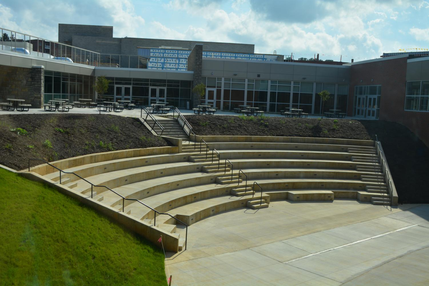 The State High Amphitheater welcomes students to its steps. Recently opened a couple weeks ago, feedback has been generally positive.