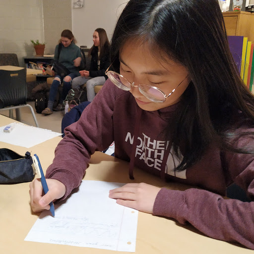 "Sophomore Mabel Tong writes her resolutions for the year of 2019, choosing to make a more generalized goal in hopes to be able to easily accomplish it. ""I think that since my goal this year is pretty simple and I don't have to put much effort into it, it'll be pretty easy,"" Tong said. ""I think resolutions in  general are worthwhile to make as long as they're simple and within your range of being able to do it."""