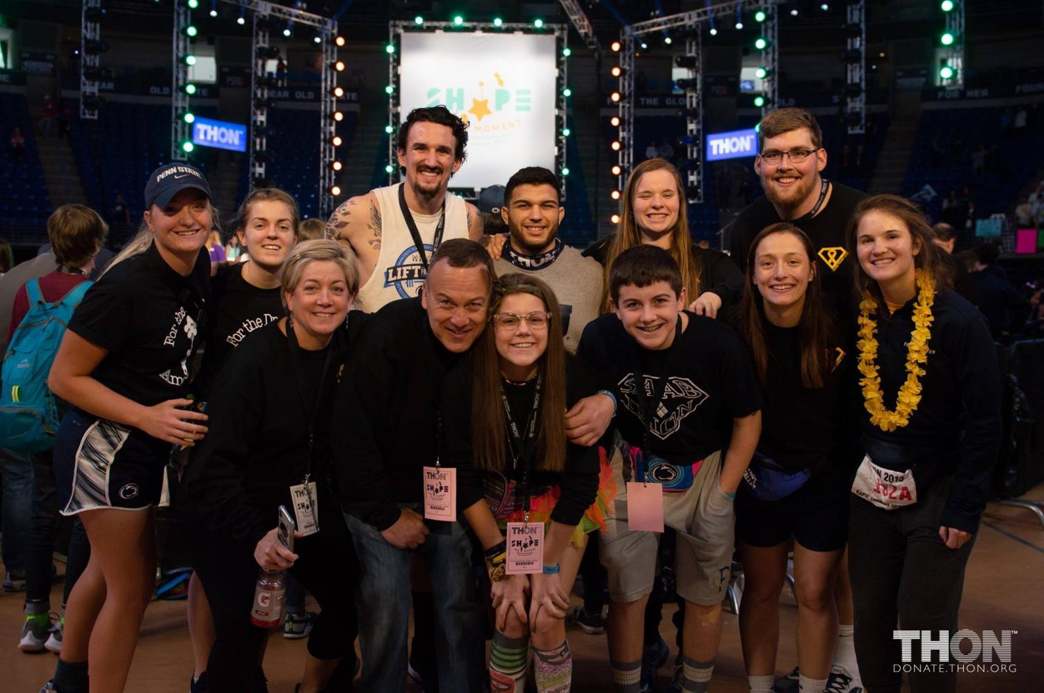 Senior, Isabella Messina and her family at THON 2019. Isabella is a two time cancer survivor and has been a Four Diamonds child since 2003.