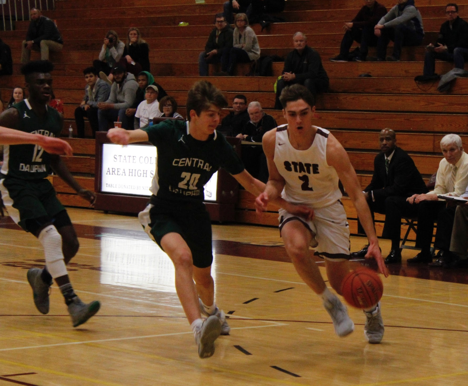 """Senior Tommy Friberg dribbles past Central Dauphin's Rance Russo on Friday night. As a senior and in the starting line up, he knows the importance of being ready for every game. """"I have gotten into a lot better shape then I was going into freshman year,"""" Friberg said."""