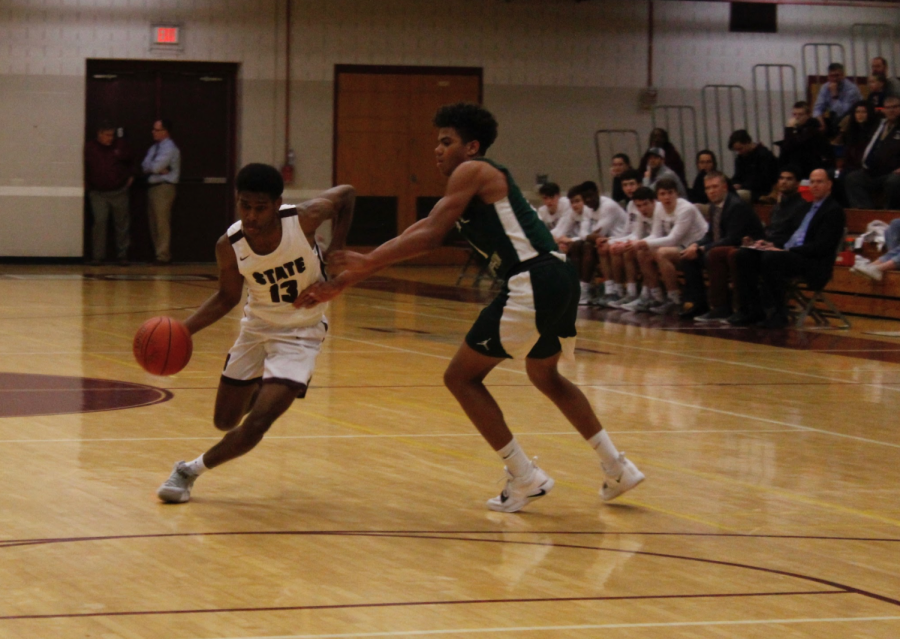 Senior Cam Villarouel dribbles past the competition at Senior Night. The game, played versus Central Dauphin, was Villarouel and his fellow seniors last game played in the North Game.