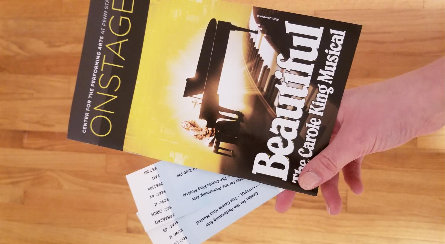 The playbill of the Center for the Performing Arts at Penn State musical, Beautiful the Carole King Musical. You can find the dates and locations for the rest of the tour at https://beautifulonbroadway.com/tour/.