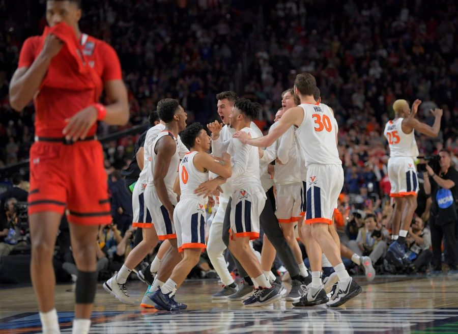 The+Virginia+Cavaliers+celebrate+their+first+Men%27s+Basketball+National+Championship+in+school+history%2C+defeating+the+Texas+Tech+Red+Raiders