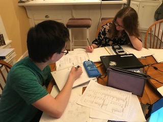 "Juniors Max Katsouros and Willow Martin study for their AP Physics 1 exam. Both students need to utilize good study strategies for their multiple AP exams this May. When asked if the strategies were effective, Katsouros said, ""I guess we'll find out in July."""