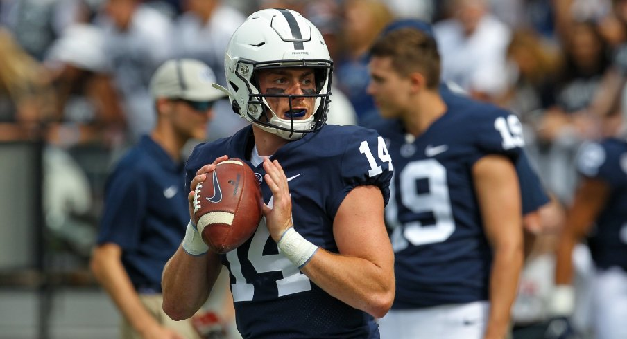Penn State quarterback Sean Clifford warms up for his first game of the 2019 season.