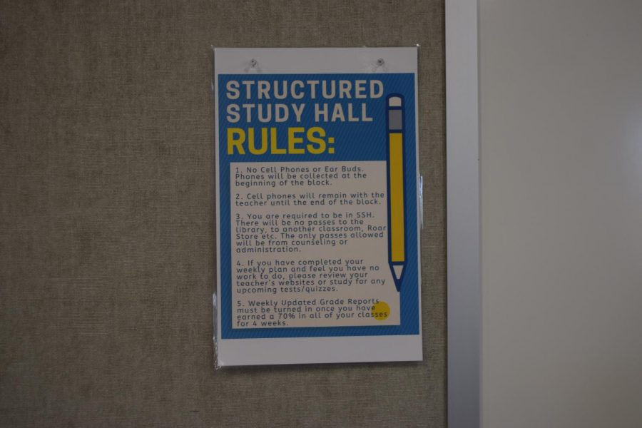 Just one poster among many seen in study halls across State High, explaining the rules for structured study halls in place. These posters were distributed a week or two after school had started. Their presence caused a stir among students who were used to having their phones or earbuds on them.