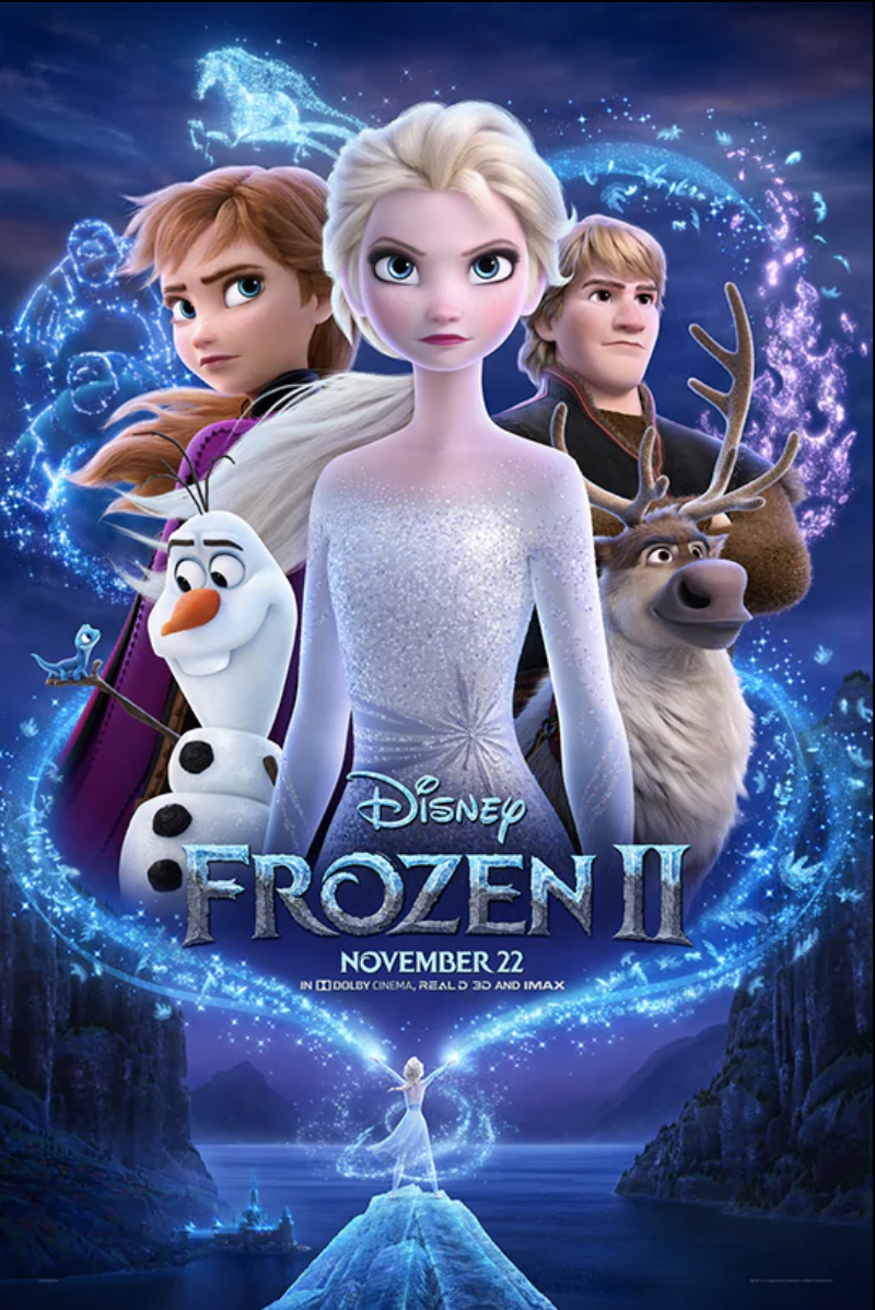 The Frozen II movie poster, as it appears in theaters.  The movie poster was dropped in September of 2019 and sparked excitement as is was shared on various social media platforms.