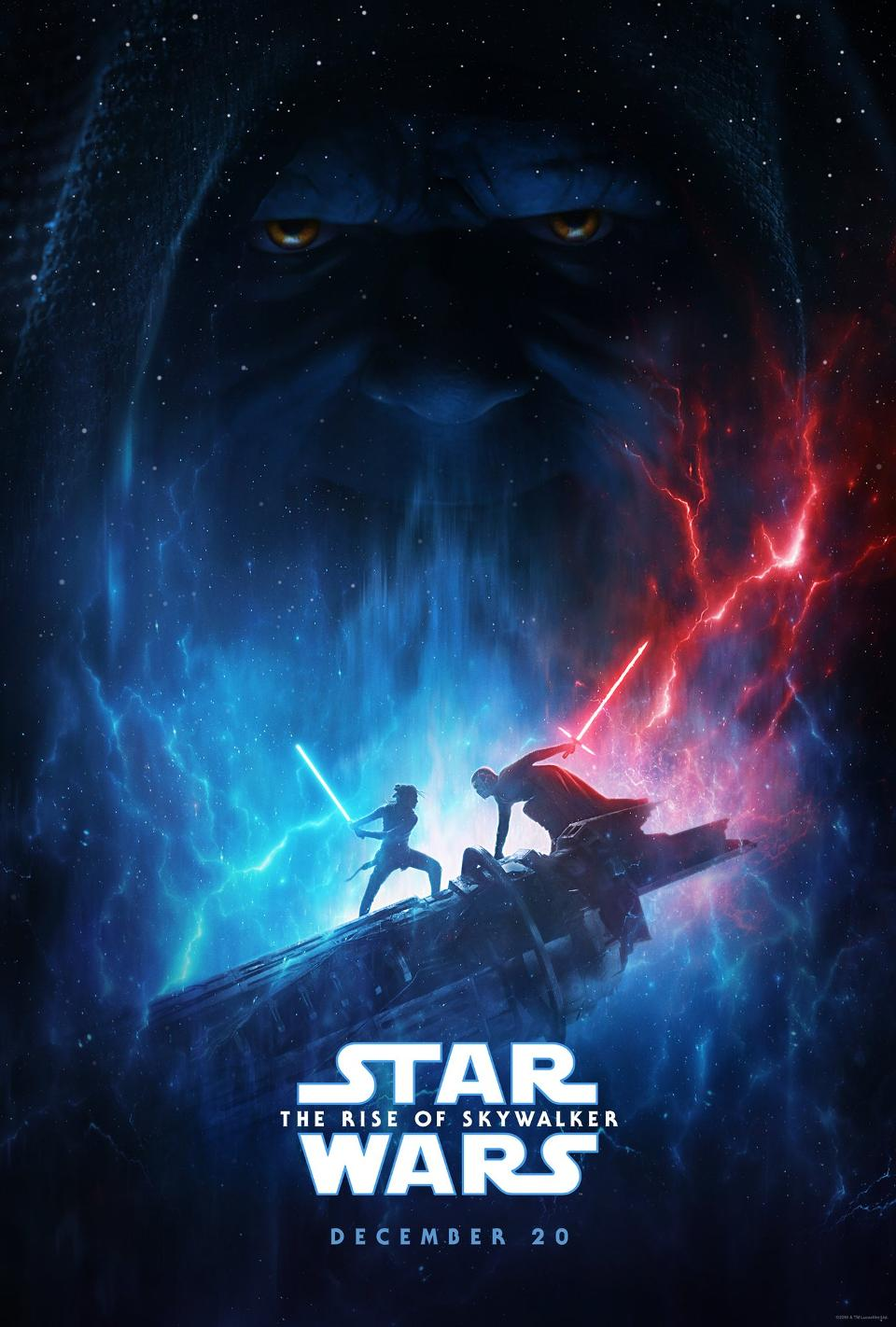 The Star Wars: Rise of Skywalker poster as seen on social media and in movie theaters. The poster release caused fans, both devoted and casual, much excitement. The poster depicts a lightsaber battle between the main protagonist in the film, Rey, and the main villain Kylo Ren. In the background of the poster is a face any Star Wars fan will know: Emperor Palpatine.