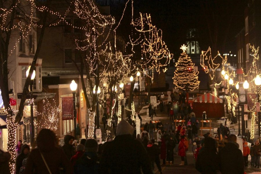 Streets+are+lit+up+by+lights+hanging+on+trees+while+event+goers+walked+the+streets+and+admired+ice+sculptures+and+other+activities.+First+Night+is+an+annual+event+that+takes+place+on+New+Year%27s+Eve.+