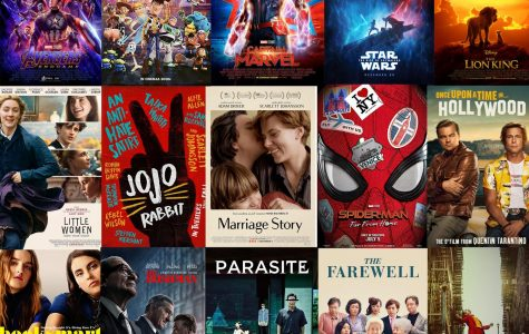 Moves listed from left to right: 'Avengers: Endgame,' 'Toy Story 4,' 'Captain Marvel,' 'Star Wars: The Rise of Skywalker,' 'The Lion King,' 'Little Women,' 'Jojo Rabbit,' 'Marriage Story,' 'Spider-Man: Far From Home,' 'Once Upon a Time in Hollywood,' 'Booksmart,' 'The Irishman,' 'Parasite,' 'The Farewell,' and 'Joker.'