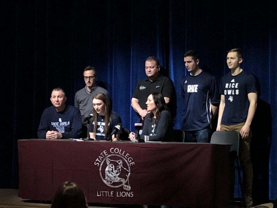 Maya Bokunewicz, senior, speaks at State High's signing day about her decision to attend Rice University.