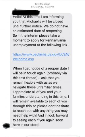 This is a text that some State High Students have recieved. Many have received similar messaged regarding the status of there jobs and how they mostly likely are closed or will close due to the outbreak.