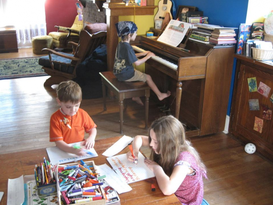 Snyder and siblings during homeschooling a few years ago.
