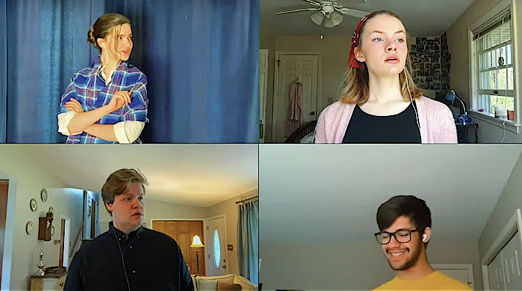 "A screenshot from the all-virtual cabaret put together by Thespians through pre-recorded videos, uploaded on Youtube on June 13, 2020. Madeleine Christopher as Eponine, Pheona Mulley as Madame Thenardier, Tynan Butler as Jean ValJean, and Ashwin Godura as Thénardier sing ""One Day More,"" the finale of the first act of Les Misérables."