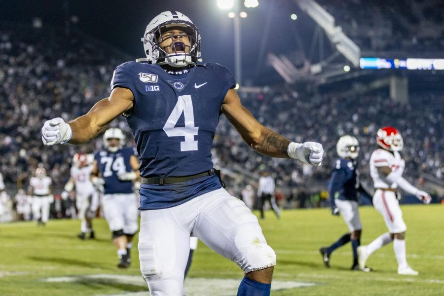 Penn State's Journey Brown celebrating his touchdown during the third quarter on November 30, 2019. Although fans will not be able to watch Brown in person, the excitement surrounding him is still there.
