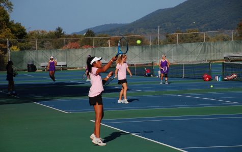 Senior and captain on the girls' tennis team at State High, Sruthi Ramesh warms up for her match against Mifflin County on Wednesday, Sept 23, in State College, PA. Ramesh has played on State High's tennis team for all four of her high school years and is extremely excited for the rest of the season.