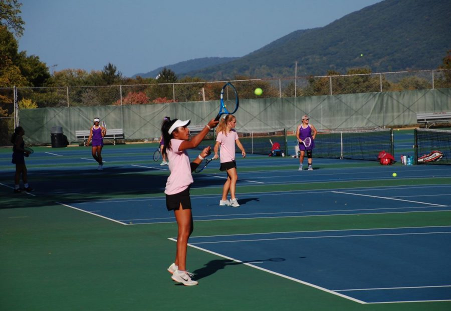 Senior+and+captain+on+the+girls%E2%80%99+tennis+team+at+State+High%2C+Sruthi+Ramesh+warms+up+for+her+match+against+Mifflin+County+on+Wednesday%2C+Sept+23%2C+in+State+College%2C+PA.+Ramesh+has+played+on+State+High%E2%80%99s+tennis+team+for+all+four+of+her+high+school+years+and+is+extremely+excited+for+the+rest+of+the+season.