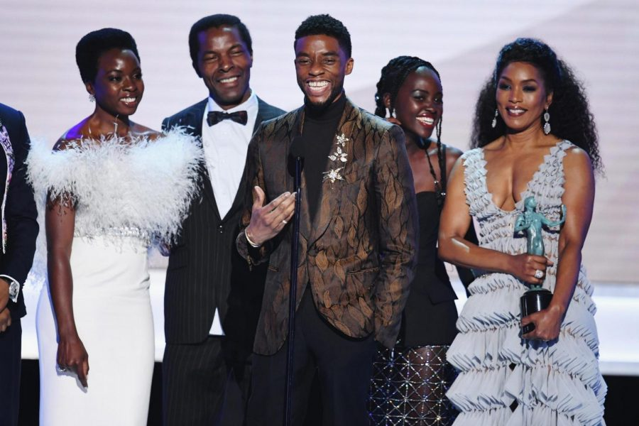 Boseman poses with the rest of the Black Panther cast at the SAGs in LA California on Jan. 21, 2018. Boseman and his colleagues took home the award for Outstanding Performance by a Cast in a Motion Picture.