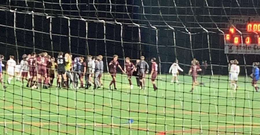 The State High Boys' Soccer team playing Tuesday night. Taken Oct. 13, 2020, in State College, PA.