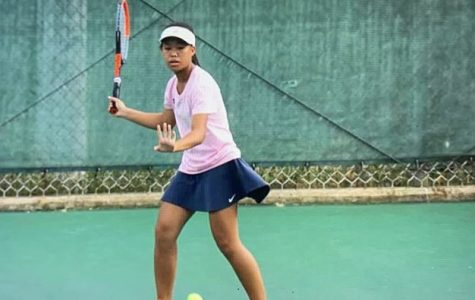 Quiana Guo competing in her singles district finals on Sept. 30.