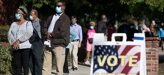 Early voters in Columbia, South Carolina, on October 6, 2020. Risks of COVID-19 only add to challenges of voting, making long lines for extended periods of time especially frightening.