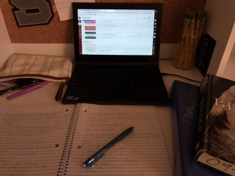 A photo of assignments on a Chromebook taken on Wednesday, Sept. 30, 2020, at my workspace in my room, State College, PA. After my field hockey game on Wednesday evening, I was able to complete all of my schoolwork from that day at 10:30 PM.