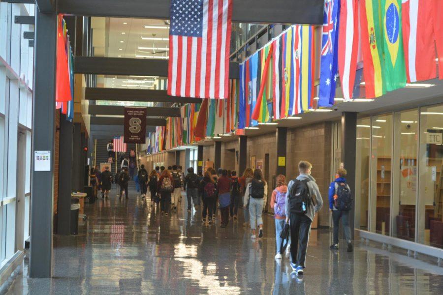 Students+walk+through+the+halls+of+State+High+on+Thursday%2C+Nov.+12.