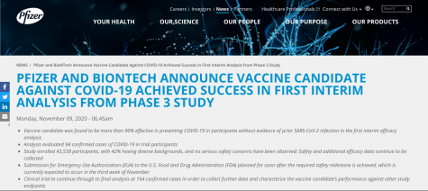 Pfizer made a press release about their new COVID-19 vaccine, which can be found on their website.