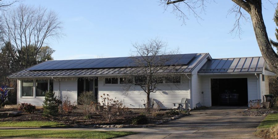 Nov. 29, 2020, State College, PA. Solar panels power Blair Malcom's house, a community member with the goal of protecting the environment. These solar panels power both his house and his hybrid car.