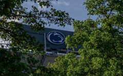 Penn State Stadium's sign pictured above during spring weather in May 2020.