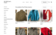 The Sweatshirts/Non Winter Jackets page of the Lion's Closet website displays two dozen light jackets and pullovers of various sizes. All of the clothing in the Lion's Closet is free and available to any State High student who needs it.