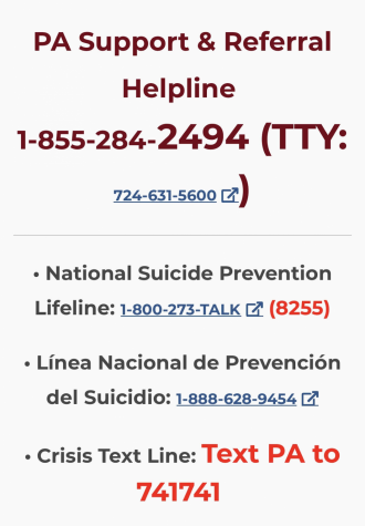 Mental health resources for PA are available online. Please reach out if you or someone you care about is in need of help. Taken from PA department of Human Services.