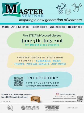 The flyer for MASTER Seminar. Interested middle schoolers can scan the QR code or go to the link listed in the poster to sign up.