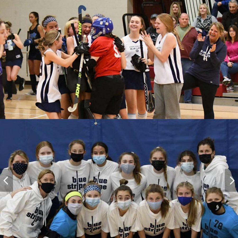 Sophomore at State High, Molly Schreiner feels that her sport, field hockey, is one of the biggest aspects in her life affected by COVID-19. Pre-pandemic (top), her and her teammates competed indoors unmasked, whereas now (bottom) they are required to compete wearing masks indoors.