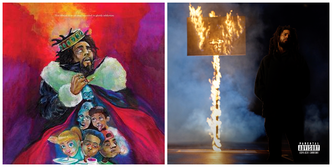 """The album covers for KOD (left) and The Off-Season (right), released three years apart, side by side. The artwork for KOD by Kamau Haroon, a.k.a Sixmau, includes a disclaimer at the top reading, """"This album is in no way intended to glorify addiction."""""""