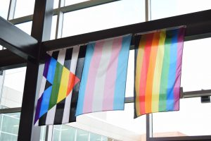 The Ally Pride Flag, Transgender Pride Flag, and the Philadelphia Pride Flag hanging in the SCAHS building. The SCASD Board of Directors approved a set of trans policies at their meeting on Monday, Sept. 13.
