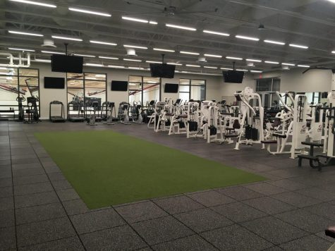 The new and improved fitness center, located in the back of State High's South campus. It is accessible by the stairs in the school and then up the stairs past the auxiliary gym.