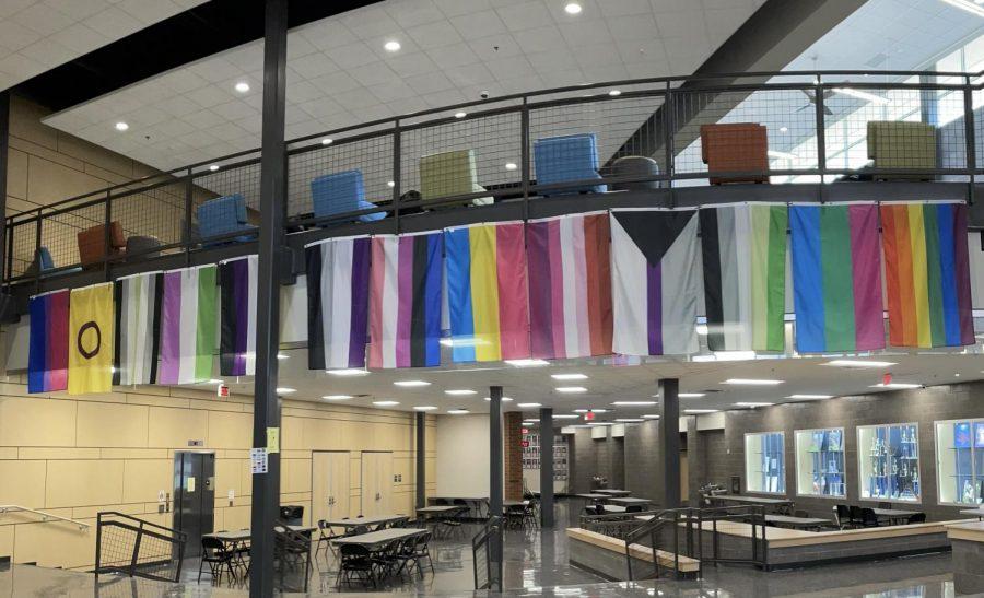 LGQTQ+ Pride Flags in The Hub, taken on Oct. 12, 2021.