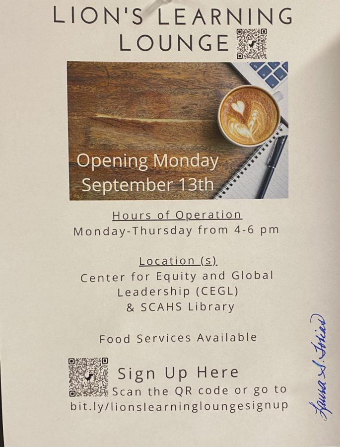Lion's Learning Lounge poster displayed in the school on Sept. 28.